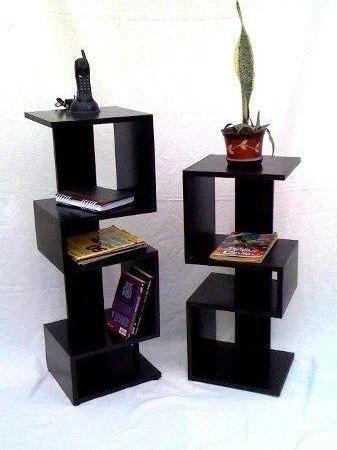 combo mesitas repisa telefono estantes modernas muebles duo madera - mesitas de madera