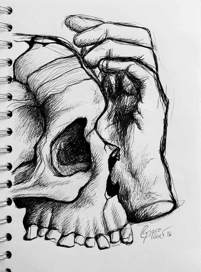 Schädel und Prothese Mehr Schwarz sehen, Skizze Zeichnung mit ...