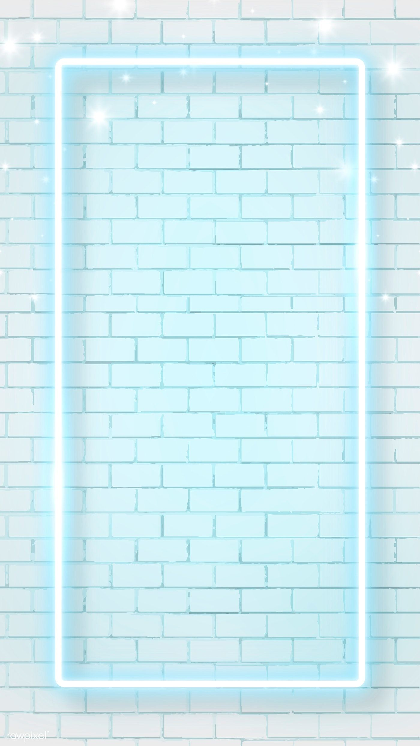 Download Premium Vector Of Blue Neon Frame On Brick Wall Background Mobile Brick Wall Background Blue Wallpaper Iphone Wall Background