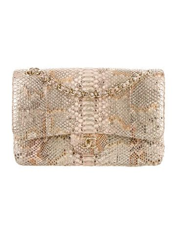 6b4af382f1e2 Chanel Python Jumbo Double Flap Bag