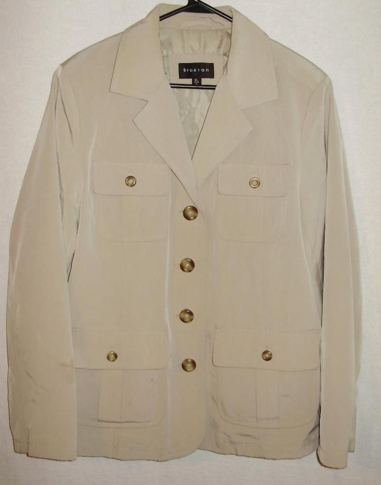 Braetan Jacket Lightweight Womens Size 16 Career Tan Lined Free Shipping #Braetan #BasicJacket