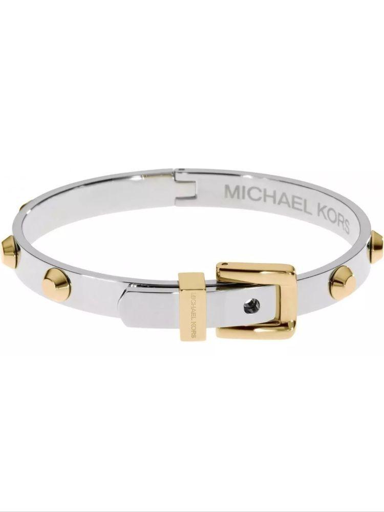 b33cee86b4714 Michael Kors MKJ1892931 Silver Gold Tone Astor Stud Buckle Bangle Bracelet   95