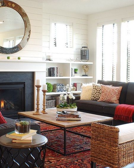 Plank Fireplace wall Built-ins Placement of furnishings LET US