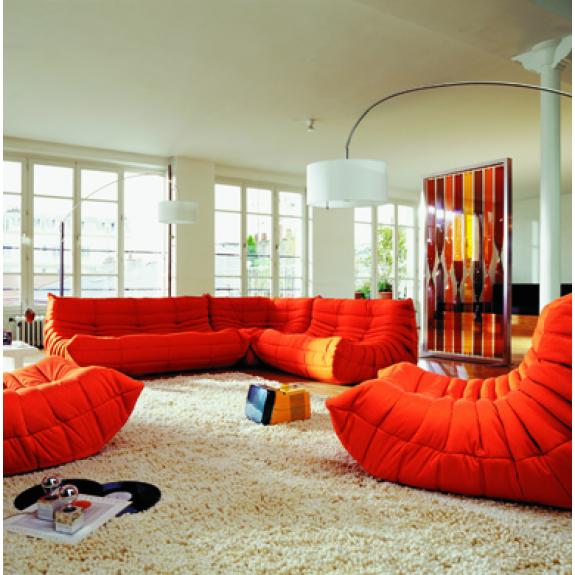 Togo Stof Alcantara Ligne Roset Color Orange Sofa Living