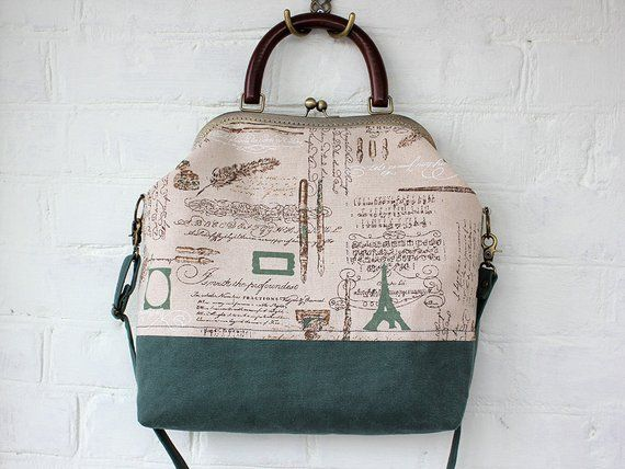 Canvas Tote Bag Paris Linen Frame Bag Crossbody Linen Handbag Green Beige Handbag Messenger Hand stitched bronze Metal frame Wooden Handle #woodentotebag