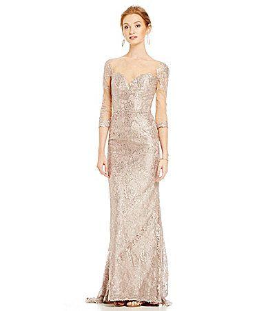 Mac Duggal Metallic Lace Beaded Gown #Dillards | Bridal Company ...