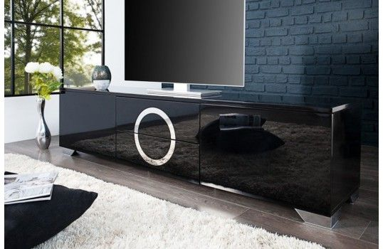 Meuble Tv Design Noir Eva 180 Cm Lowboard