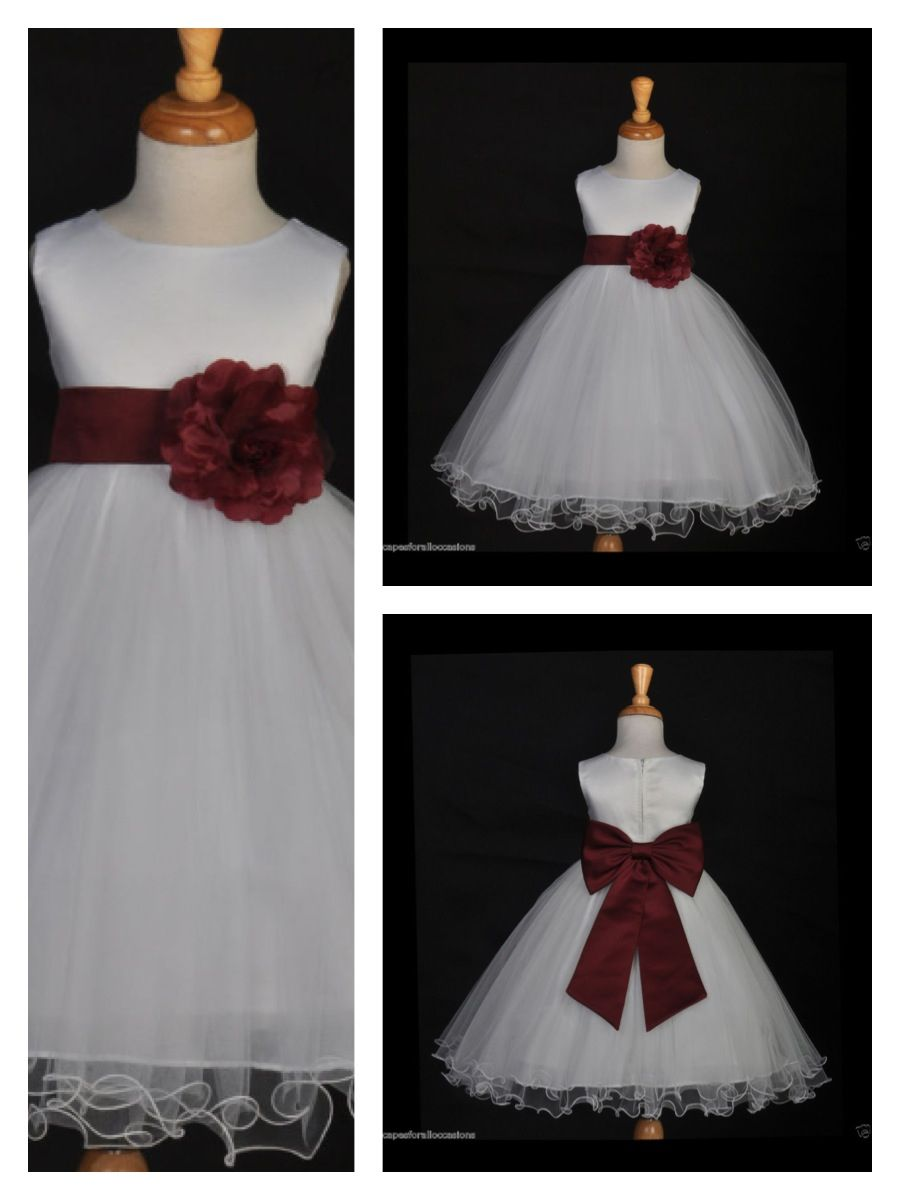 Deep Rose Burgundy Flower Girl Dress Fall Winter Wedding