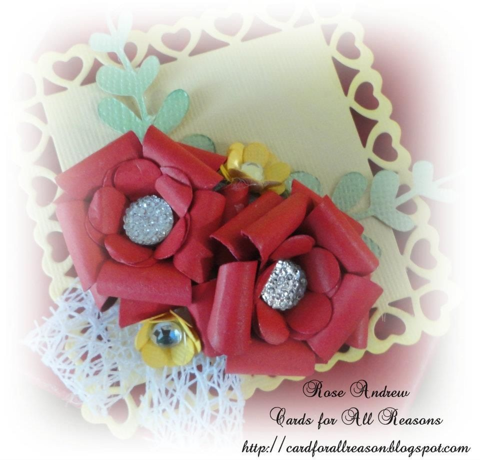 Favour box with handmade a roses leaves and bling in centre
