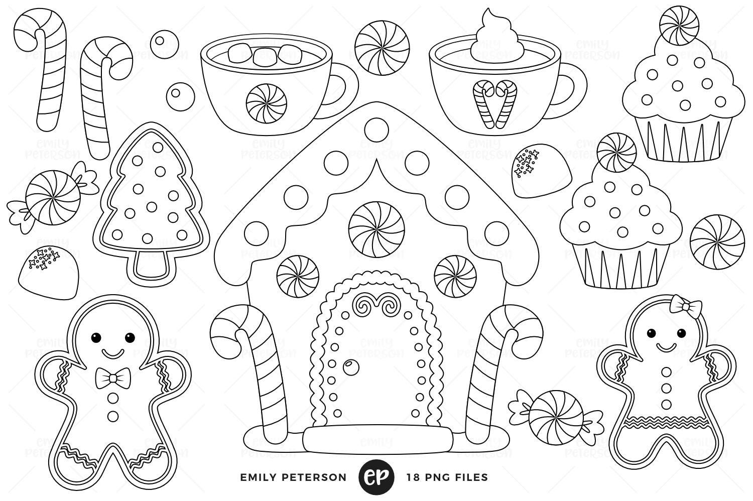 Gingerbread Man Digital Stamps, Christmas Line Art