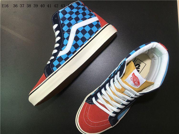 96cf4e0c4a Vans Sk8-Hi 50th Commemorative Black Blue Lattice Men   Women High Help Casual  Shoes