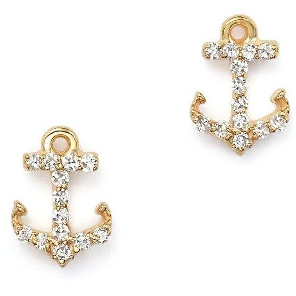 Kc Designs Diamond Anchor Earrings In 14k Yellow Gold 475
