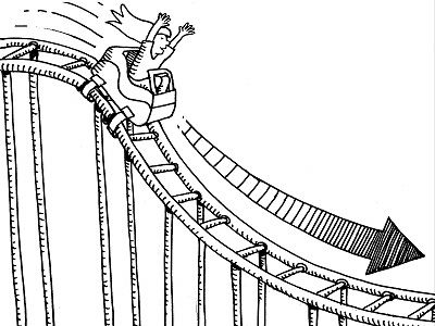 Newton's first law (Objects in motion): the person in the rollercoaster is in motion and will continue to be in motion