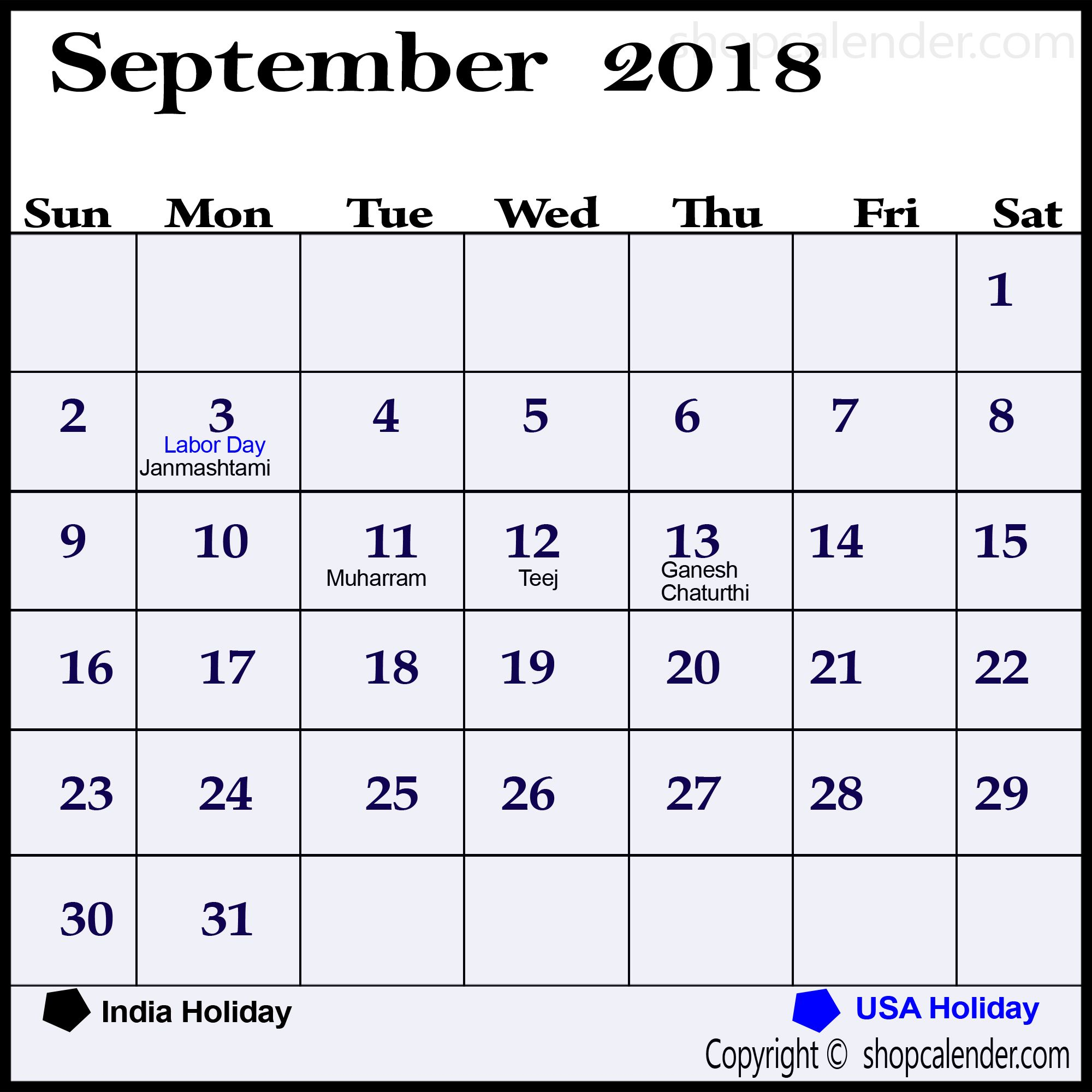 September 2018 Calendar Usa Uk Malaysia Singapore Canada India