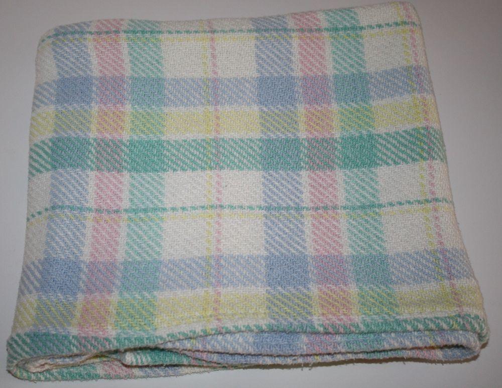 Baby Blanket 100 Cotton Woven Blocks Crib Blue Yellow Pink Green Made In Usa Usa Cottonbabyblanket Cotton Baby Blankets Baby Blanket Cotton Weaving