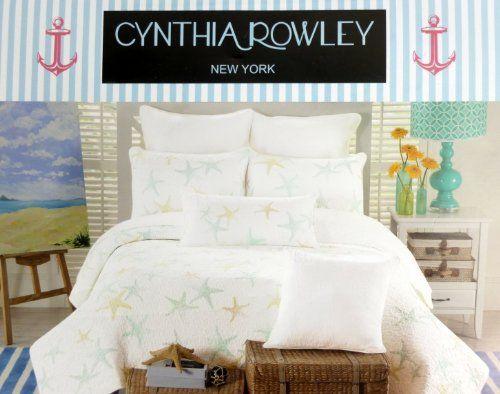 Cynthia Rowley Starfish Quilt Twin Size White Aqua Blue and Green ... : cynthia rowley new york quilt - Adamdwight.com