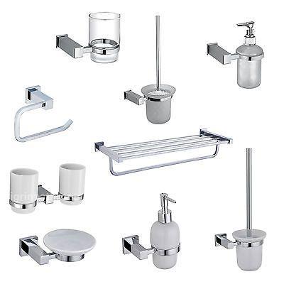White Ceramic Or Glass Square #bathroom Accessories Set #chrome #finish,  View More