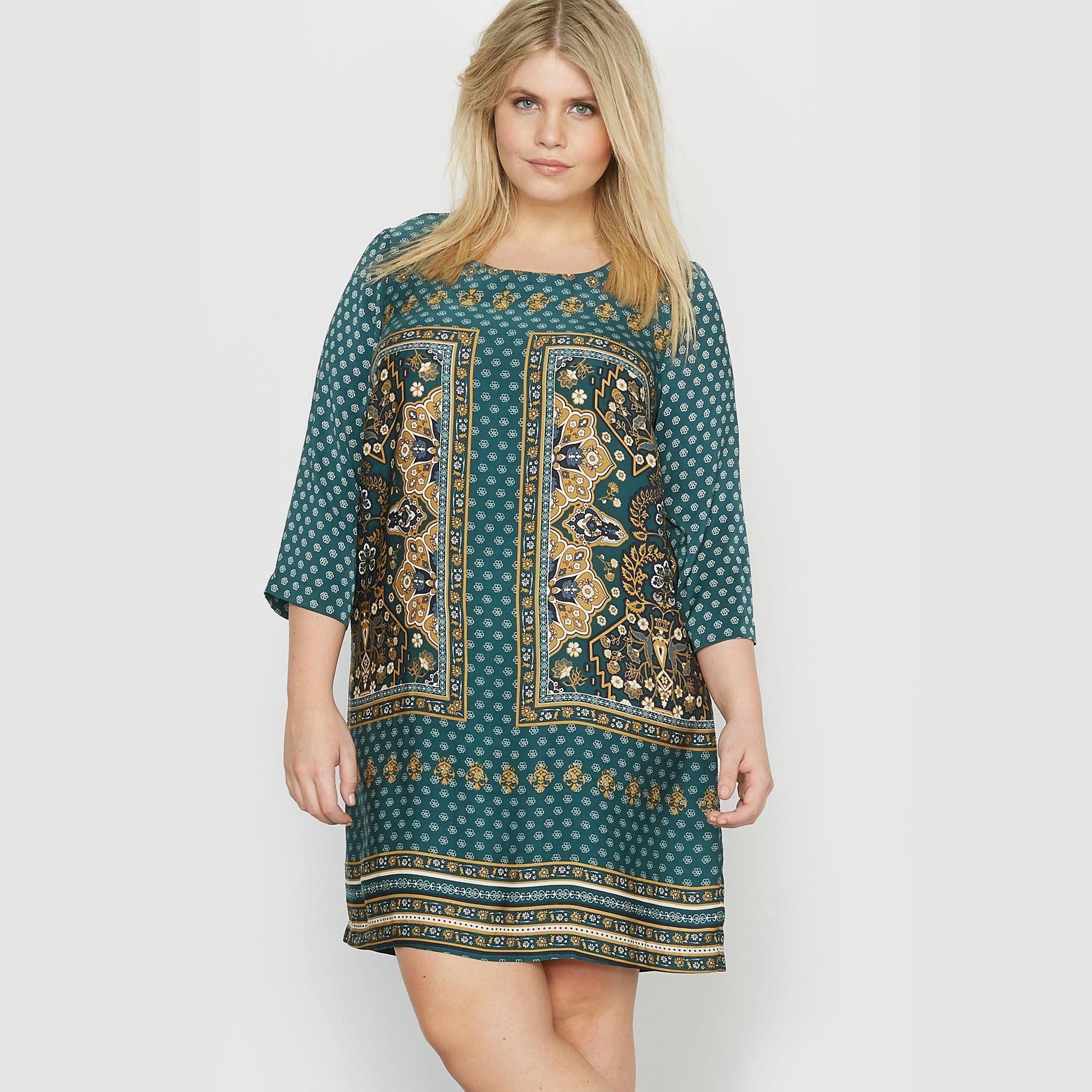 kleid, foulard-druck   kurze kleider, mode große größen, tuch