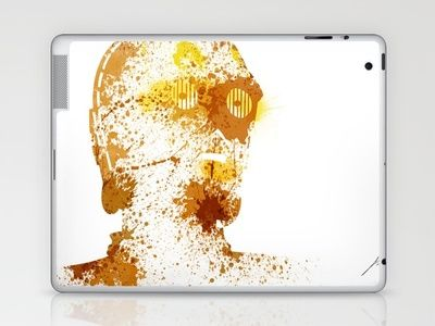 Artistic c3po star wars splatter paint ipad or laptop vinyl decal skin sticker cool