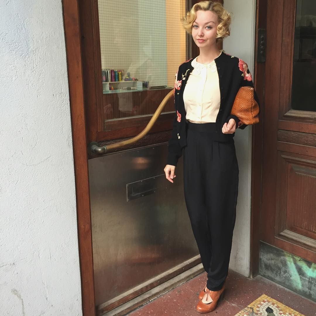 Out for breakfast 💕✨ Silk slacks, 1940s blush silk blouse and cardigan from…
