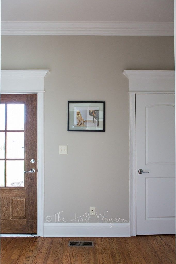 Mud room with behr sculptor clay and silky white trim a for Popular neutral behr paint colors