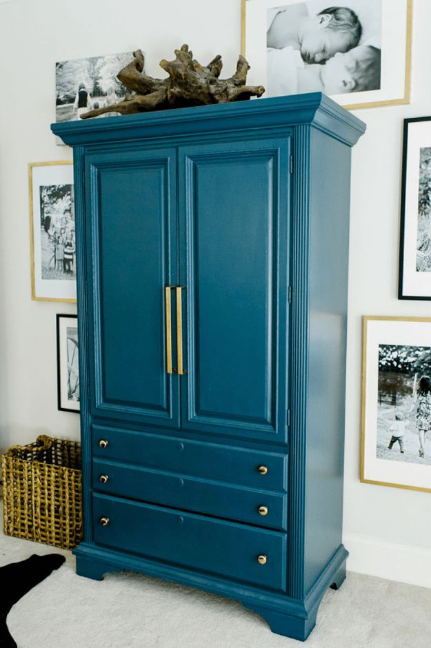 Sherwin Williams Marea Baja Armoire Makeover Painted