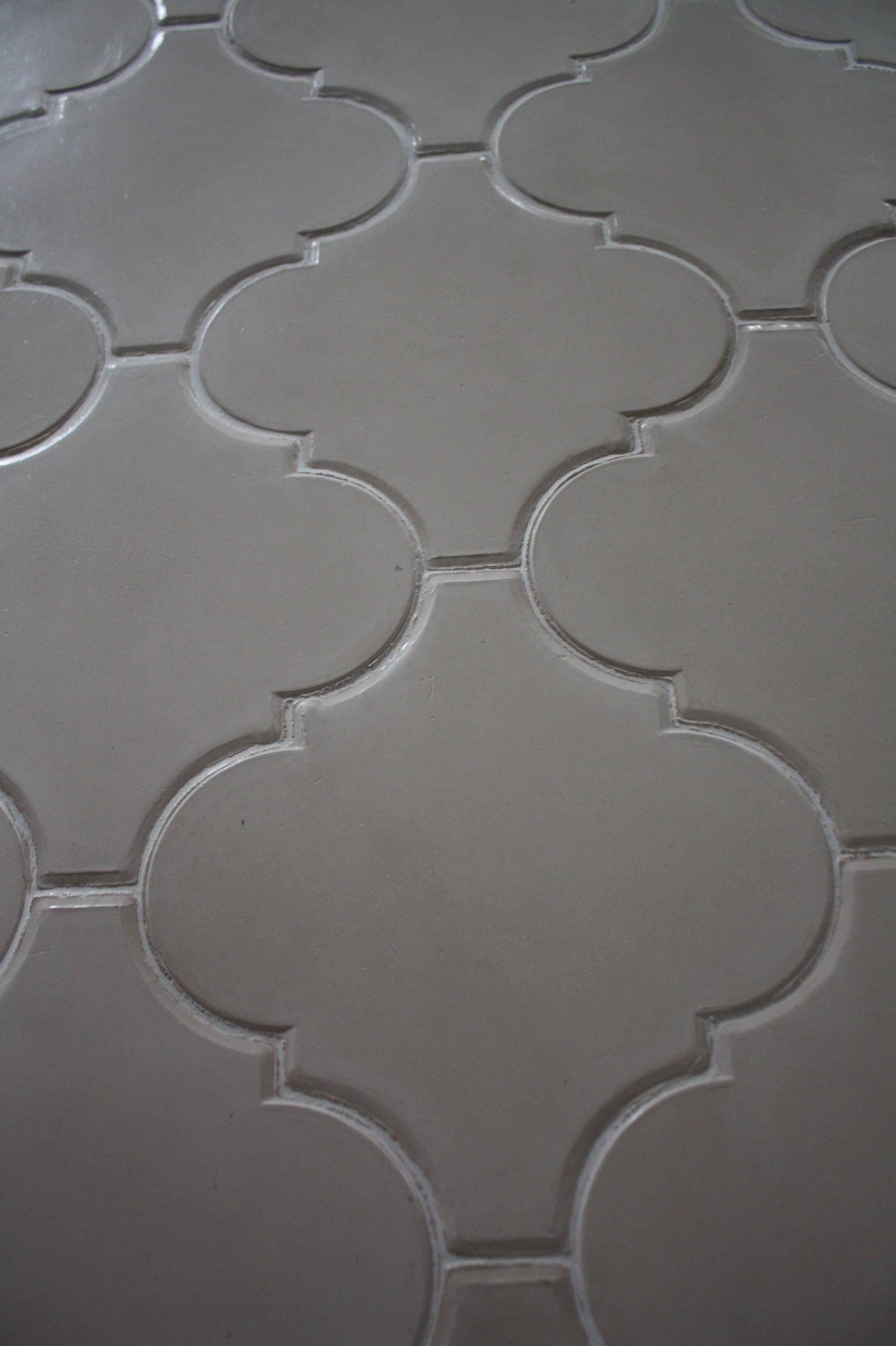 large arabesque cement floor tile in