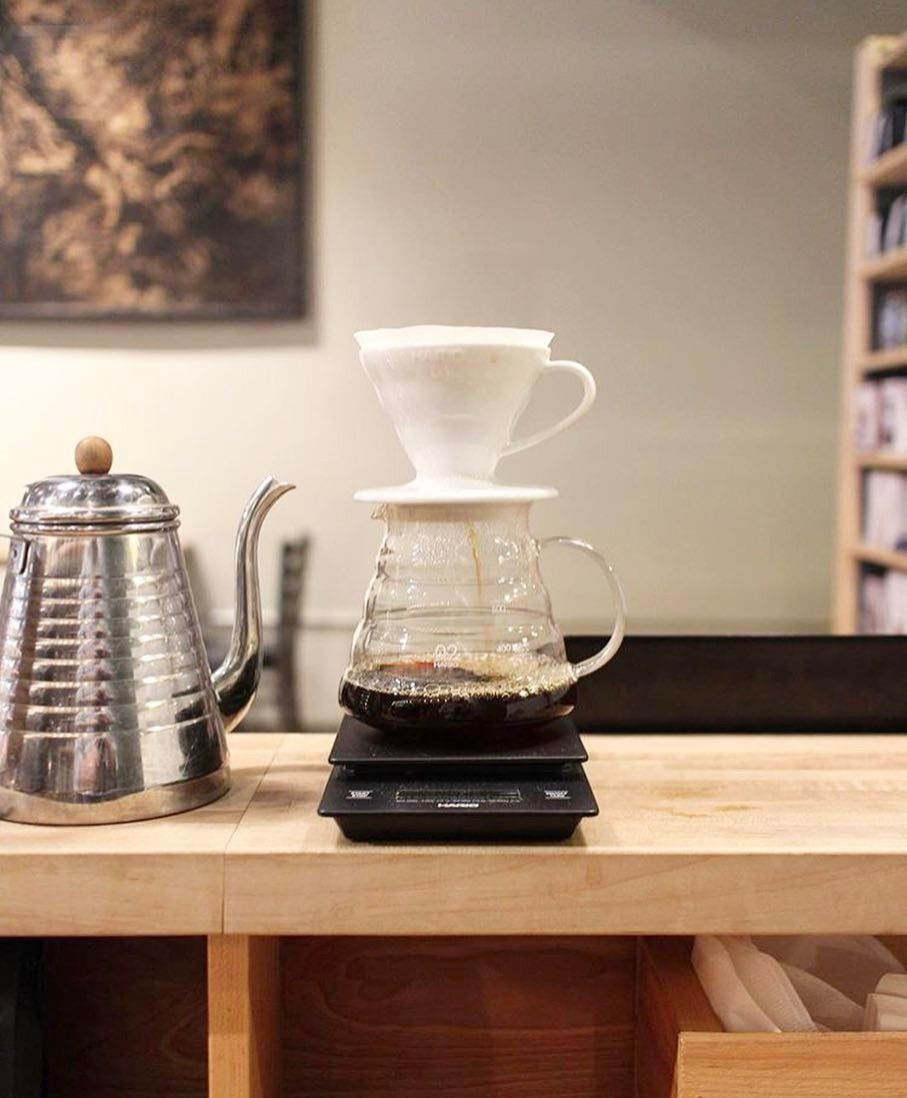 Hario V60 Poured With The Kalita Wave Kettle Great Precision All In Stock Shop Pour Over Alternativebrewing Link In Coffee Brewing Coffee Photos Coffee Shop