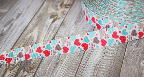 Valentine ribbon - Grosgrain ribbon - Hearts ribbon - 3 or 5 yard lot - Accent ribbon - Trendy ribbon - Shabby style ribbon - Red and teal