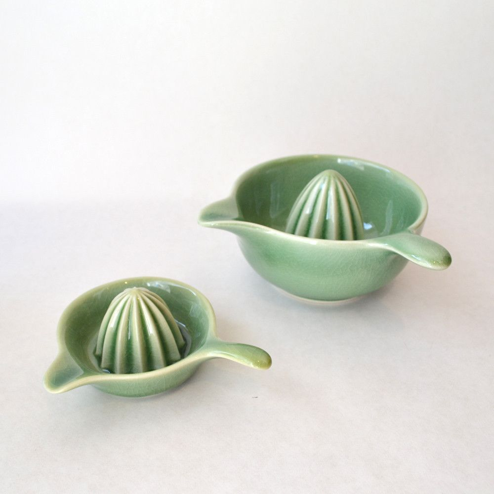 Ceramic Citrus Juicer Handmade Ceramic Juicer Blue Green White