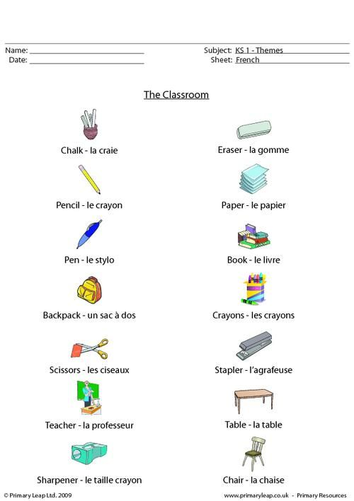 french classroom objects worksheet french printable worksheets french. Black Bedroom Furniture Sets. Home Design Ideas