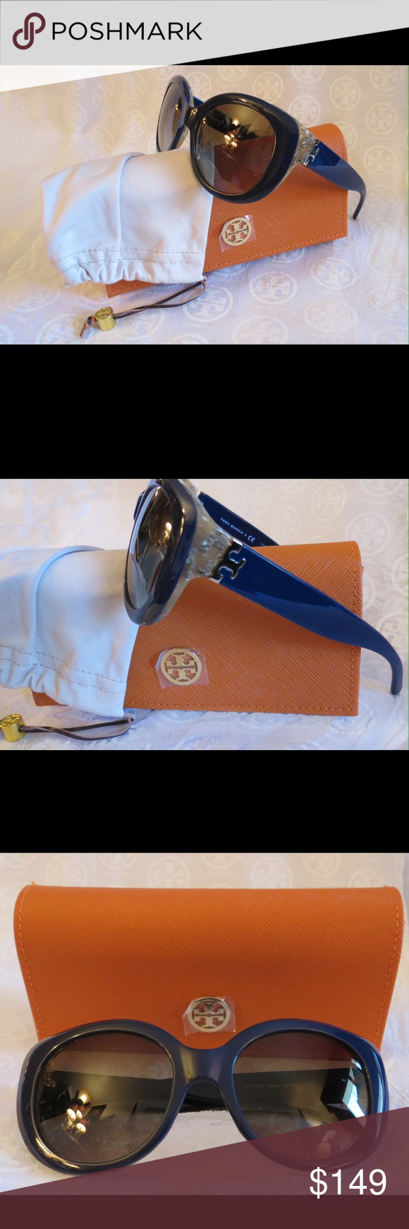 NWT Stunning Tory Burch Sunnies Ty7076 Blue Horn NWT Tory Burch Sunglasses Ty7076 134513  Time for some new fabulous authentic designer shades!!  Frame Color: Navy Blue & Horn Lens Color:  Brown Gradient Lens These are PERFECT Flawless NEVER even worn or tried on. It's just reflections that might make they look like there are issues, they are again Perfect!  Comes with original bag with tags from Luxottica, case and dust bag. All of my items are Guaranteed 100% Genuine I do not sell FAKES of…
