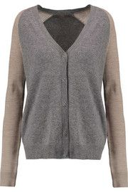 Halston Heritage Two-tone wool and cashmere-blend cardigan