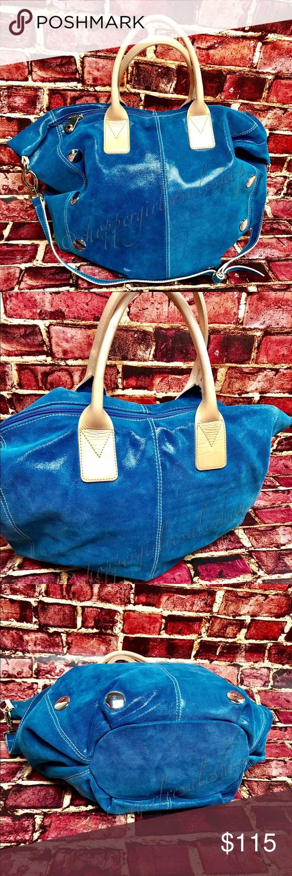 321e816c7a 🎉Blue Italian Leather PULICATI Handbag🎉 💯Authentic ✨LIKE NEW✨ Gorgeous  Blue PULICATI ‼