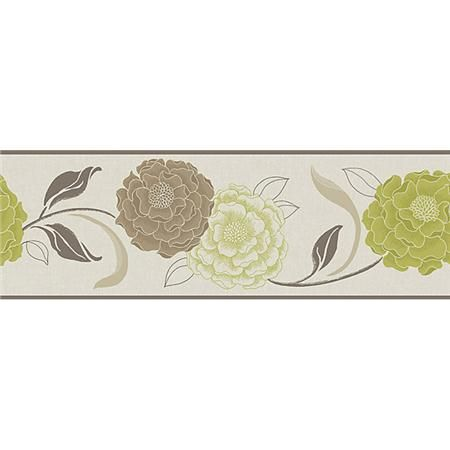 Esme Chocolate Lime Peel And Stick Border Wall Applique 15 99 Kitchen Or Bathroom Floral Wallpaper Border Decal Wall Art Wall Borders