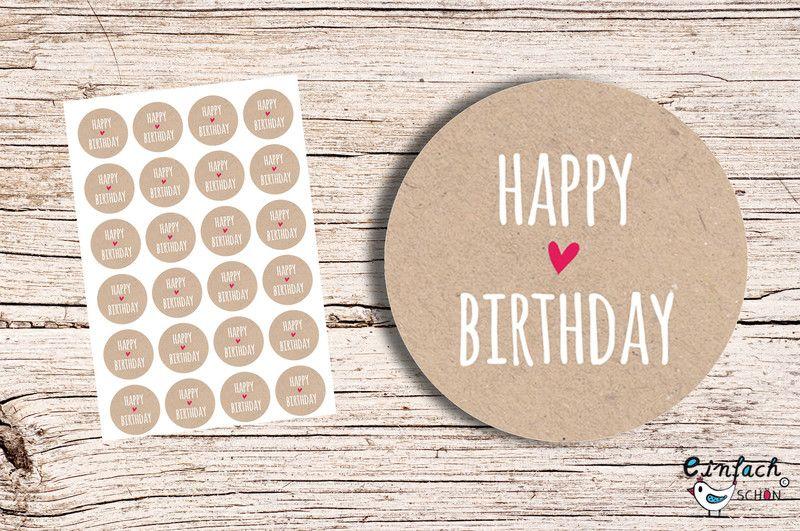 Sprüche Slogans Happy Birthday Kraft 24 Aufkleber 4cm