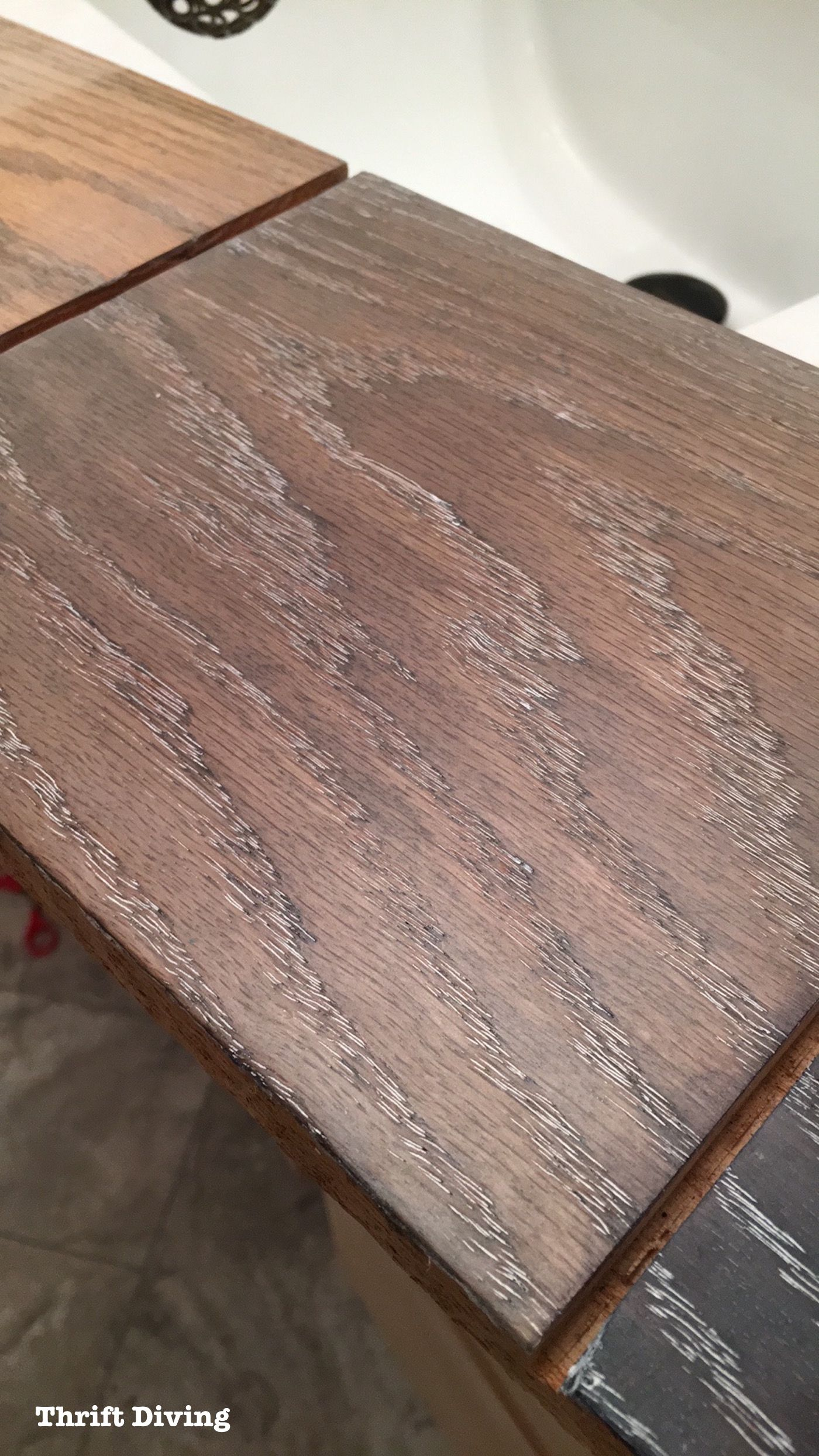 How To Dye Wood And Use Lime Wax To Finish Oak Staining Oak Cabinets Weathered Wood Stain Oak Furniture