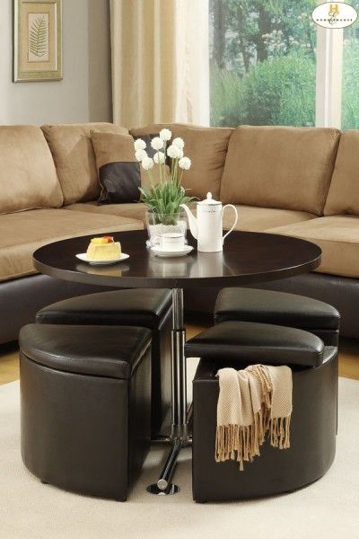 Thecomfortfurniturecom HE Gas Lift Coffee Table W Pc - Cocktail table with 4 stools