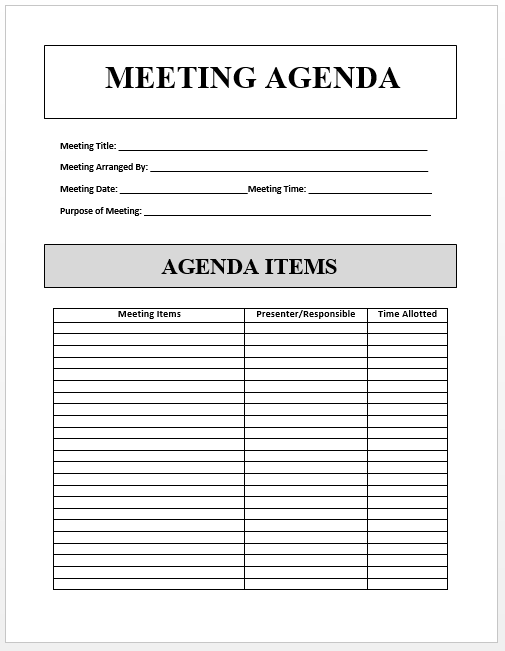 Here is Sample Agenda Template available for free download – Free Agenda Template
