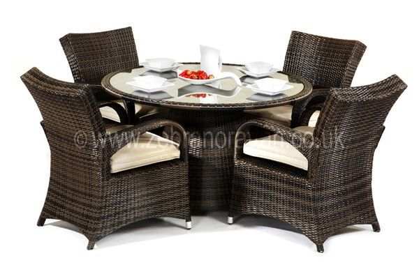 Bilbao Round Outdoor Rattan Table And 4 Chairs Rattan
