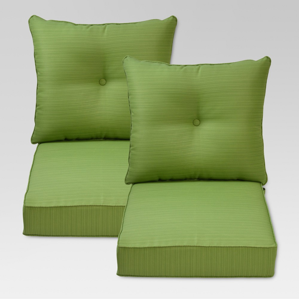 Folwell 2pk Outdoor Deep Seat Back Cushion Green Threshold Deep Seating Chair Deep Seating Patio Furniture For Sale