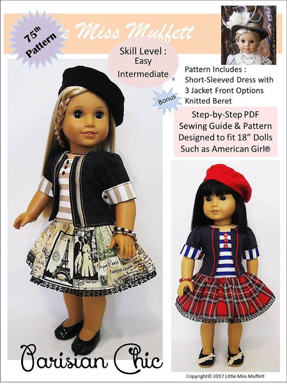 Pixie Faire Little Miss Muffett Parisian Chic Doll Clothes Pattern ...