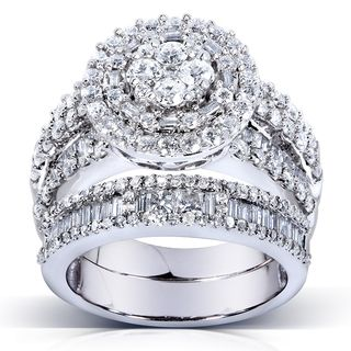 Annello 14k Gold 2 4 5ct TDW Diamond Halo Cluster Bridal Ring Set H I