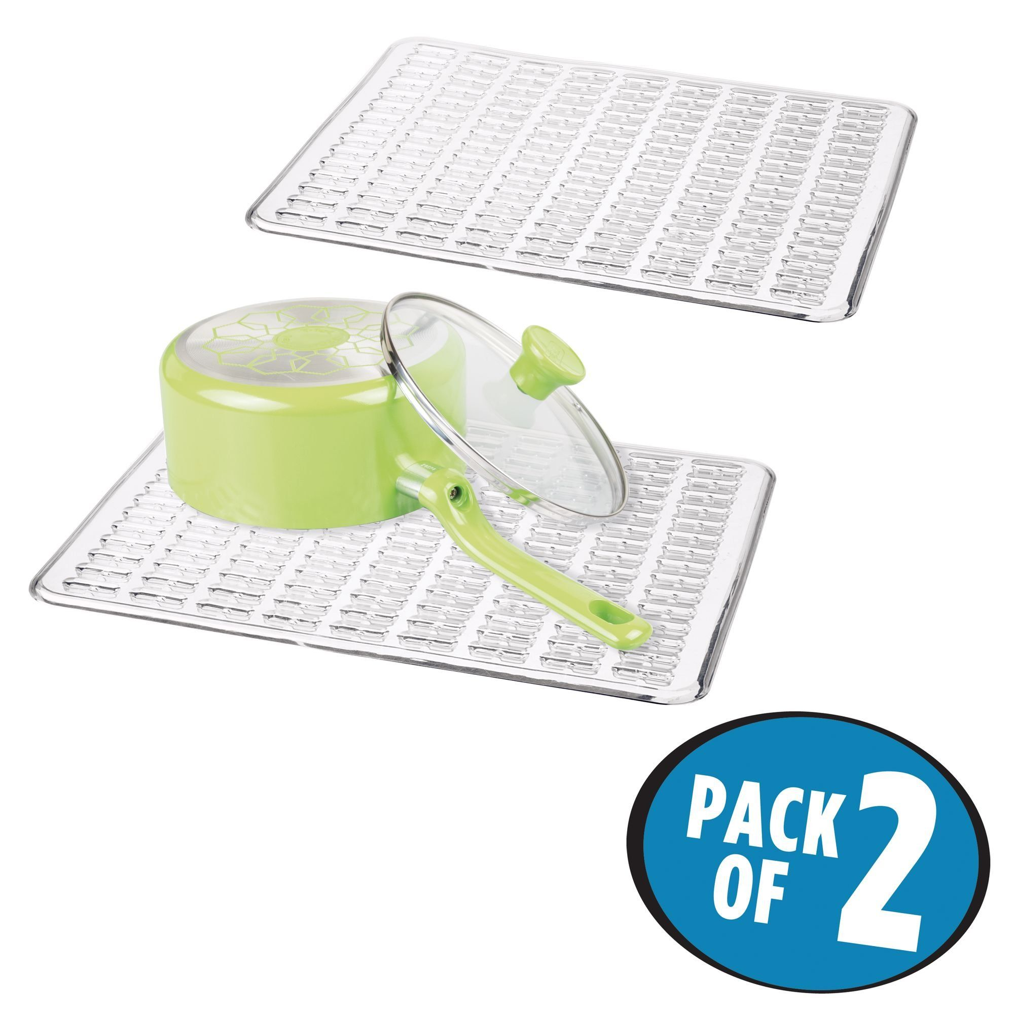 mDesign Kitchen Sink Protector Dish Mat - Pack of 2, Clear | Kitchen ...