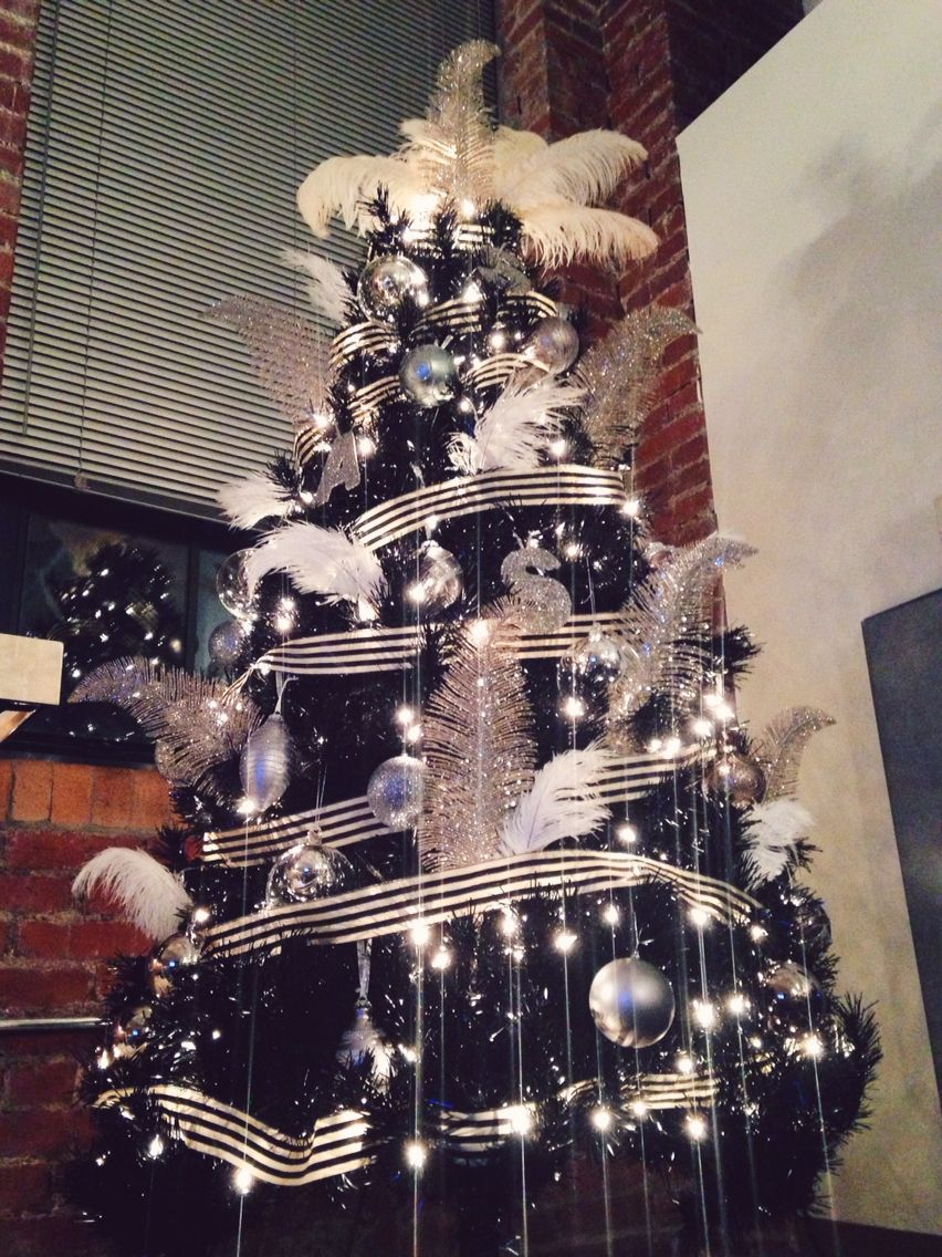 Black Christmas Tree Silver Ornaments Cream Ostrich Feathers Via Http