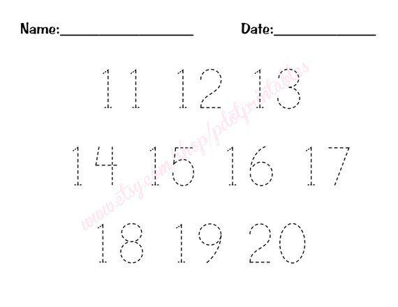 11 - 20 Number Trace Worksheet - PDF - Printable | Tracing ...