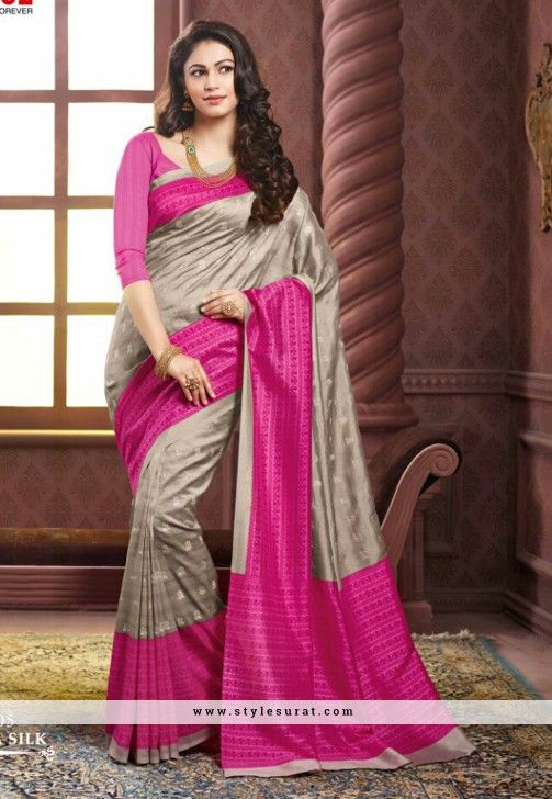 Cherubic Pink And Grey Color Thappa Silk Party Wear Saree
