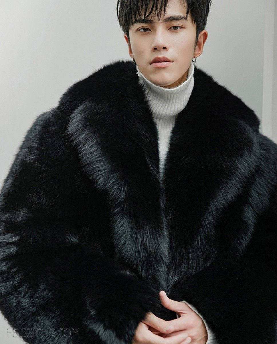 4cd2e0b5ec Real Fur Coat & Jacket | Men's Fox Fur Black Long Coat | 382 | Fur Shop  Online