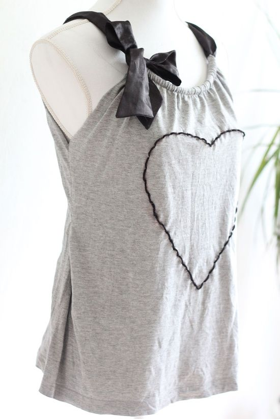 15c7c6fa8d45c Upcycle tshirt into ribbon tank top- would look really cute with a fancy  pink ribbon and my I Boobies T-shirt for the 3-day walk  )