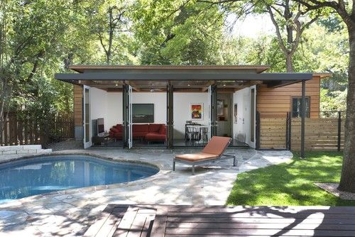 Travis Heights Guest House Modern Pool Austin Risinger Homes Modern Pool House Pool House Designs Pool House Plans